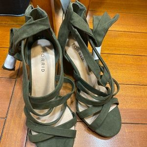 Olive green strappy lace up heel 8 wide width